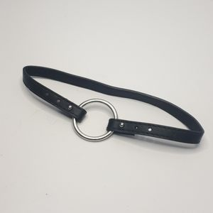 Front open Black vinyl choker with silver O ring